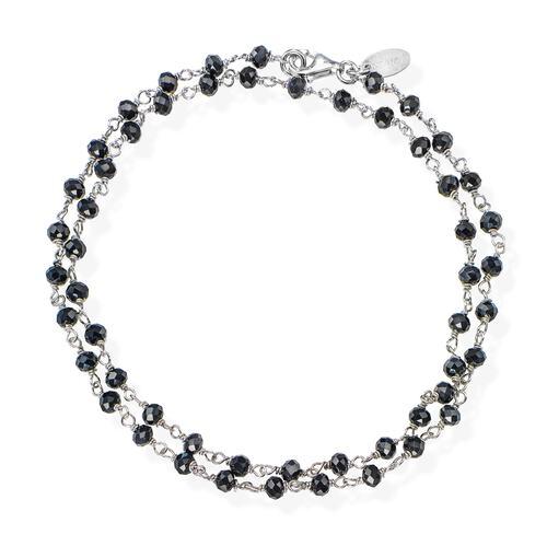 Rhodium and Black Crystal two-turn Bracelet