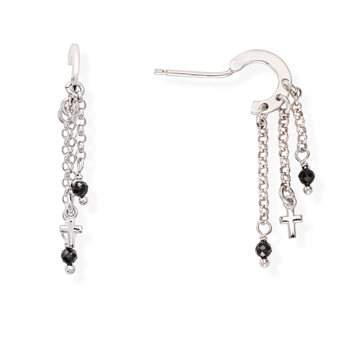 Rhodium and Black Crystals Cross Earrings