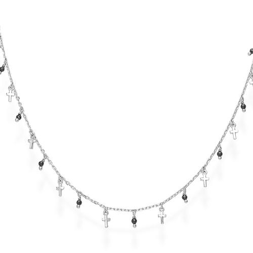Rhodium and Black Crystals Cross Necklace