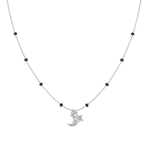 Rhodium and Black Enamel Moon and Star Necklace