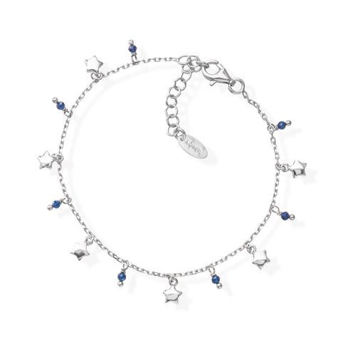 Rhodium and Blue Crystals Stars Bracelet