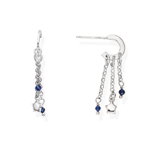 Rhodium and Blue Crystals Stars Earrings