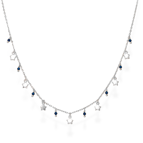 Rhodium and Blue Crystals Stars Necklace