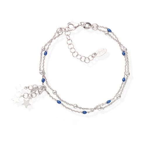 Rhodium and Blue Enamel Cascade Stars Bracelet