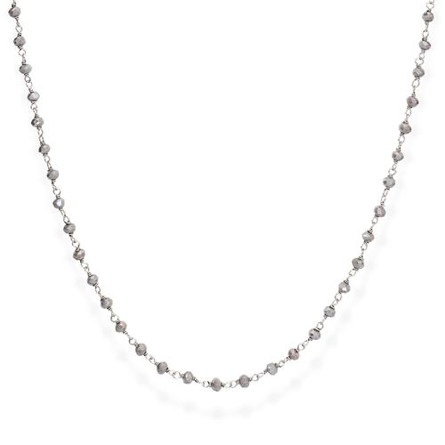 Rhodium and Fumé Crystal Necklace 90cm