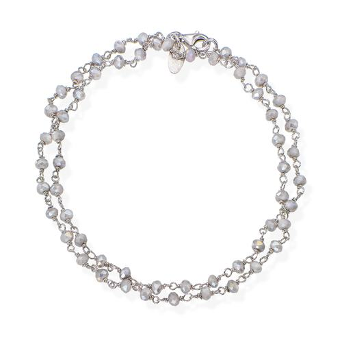 Rhodium and Fumé Crystal two-turn Bracelet