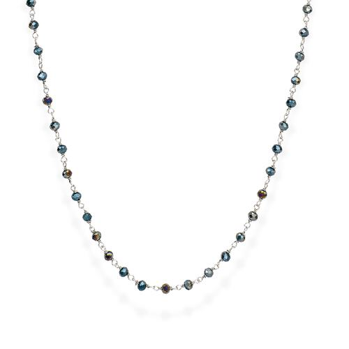 Rhodium and Green Crystal Necklace 90cm
