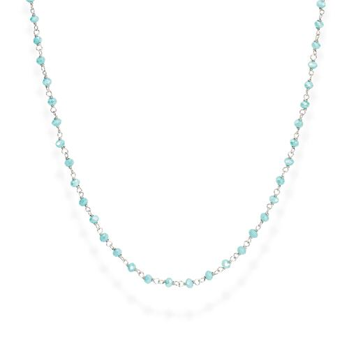 Rhodium and Light Blue Crystal Necklace 70cm