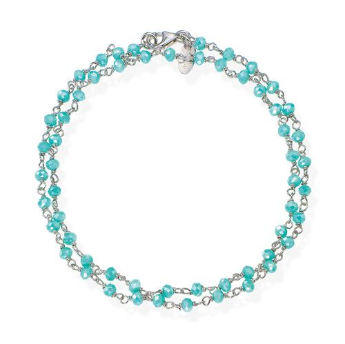 Rhodium and Light Blue Crystal two-turn Bracelet