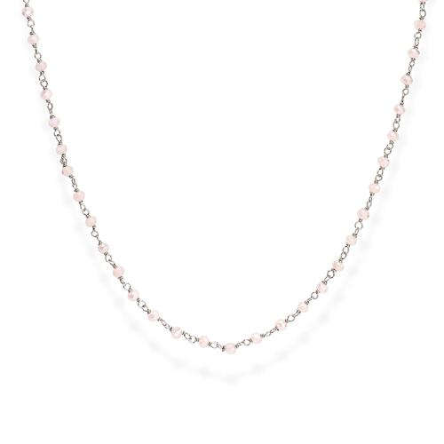 Rhodium and Pink Crystal Necklace 70cm