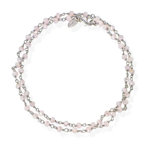 Rhodium and Pink Crystal two-turn Bracelet