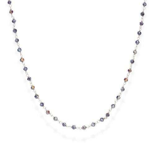 Rhodium and Purple Crystal Necklace 70cm