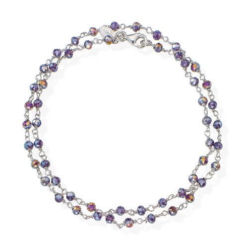 Rhodium and Purple Crystal two-turn Bracelet