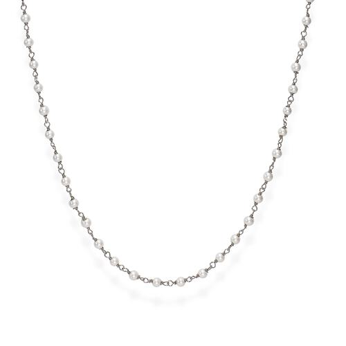 Rhodium and White Crystal Necklace 90cm