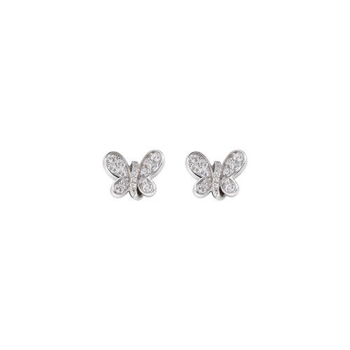 Rhodium Butterfly Earrings White Zircons
