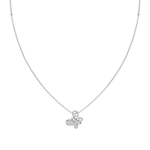 Rhodium Butterfly Necklace White Zircons