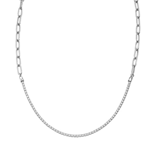 Rhodium Chain and Tennis Necklace