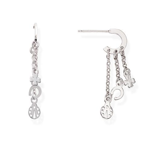 Rhodium Charms Earrings
