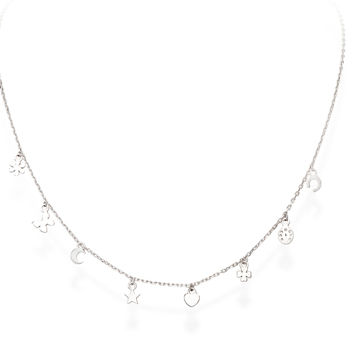 Rhodium Charms Necklace