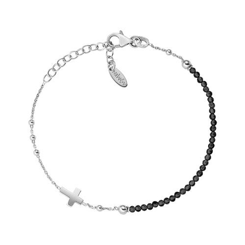 Rhodium Cross Bracelet and Black Crystals