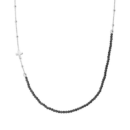 Rhodium Cross Necklace and Black Crystals