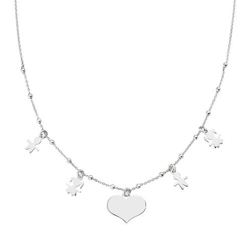 Rhodium Heart and Children Necklace