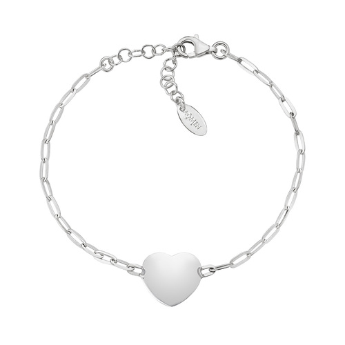 Rhodium Heart Chain Bracelet