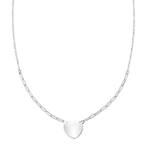 Rhodium Heart Chain Necklace