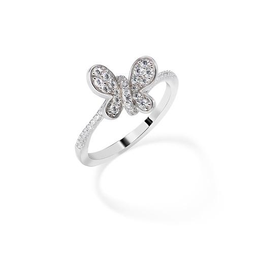 Rhodium Ring Butterfly White Zircons