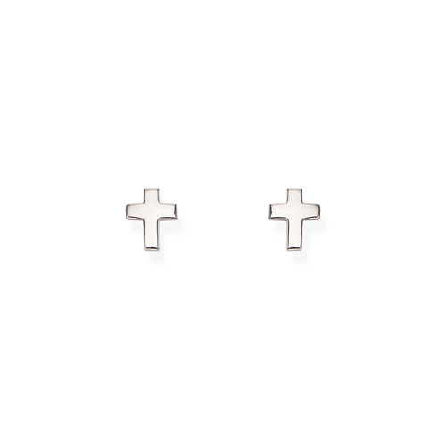 Rhodium Rounded Cross Earrings