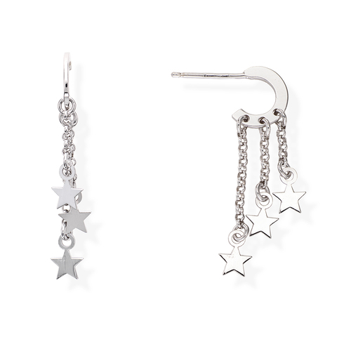 Rhodium Stars Earrings