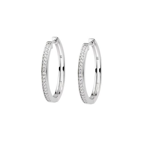 Rhodium Zirconia Circle Earrings