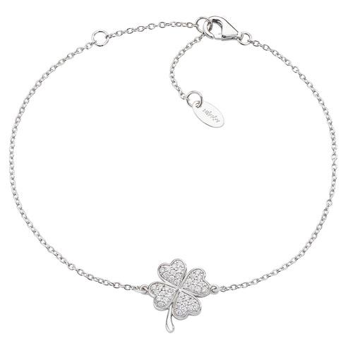 Rhodium Zirconia Four Leaf Clover Bracelet