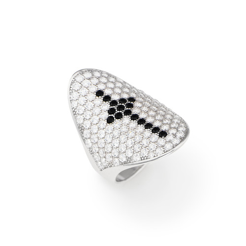 Ring cross Cross in AG925 White cubic zirconia and Black stone-color