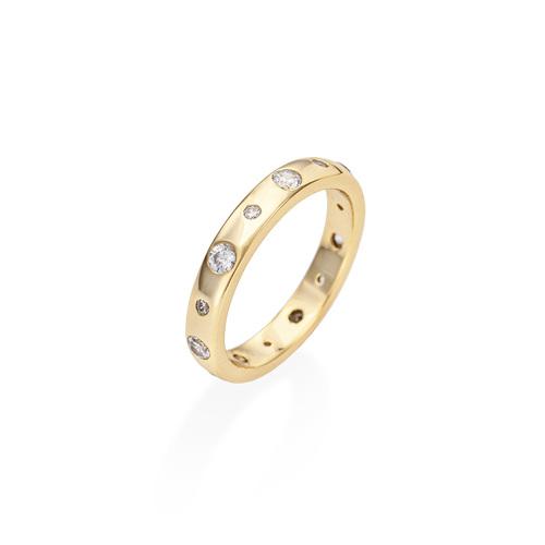 Ring Embedded Zircons Golden
