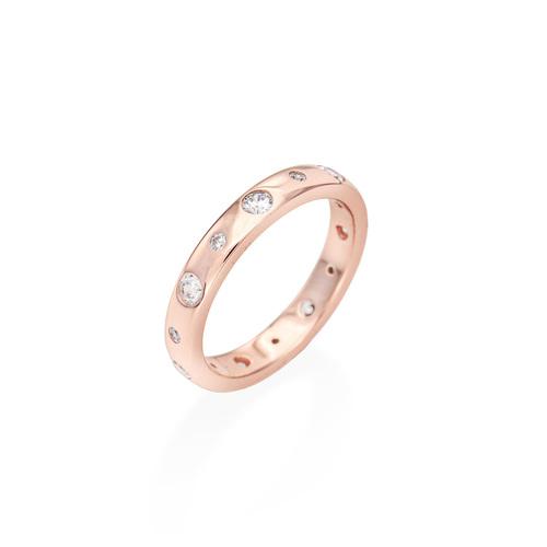Ring Embedded Zircons Rosè