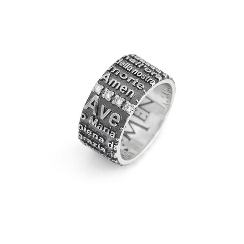 Ring Hail Mary AG925 rhodium/burnish with zircon