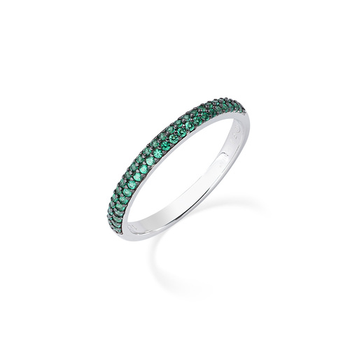 Ring in Rhodium and Green Zircons