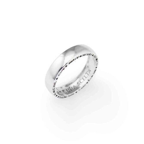 """Ring """"L'AMORE È UNA SCELTA"""" in Rhodium"""