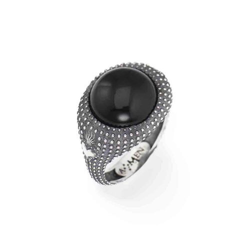 Ring Onix Cabochon in AG925 brunito