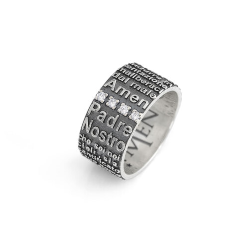 Ring Our Father AG925 rhodium/burnish with zircon
