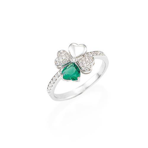 Ring Quadicuore Rhodium and Zircons White and Green