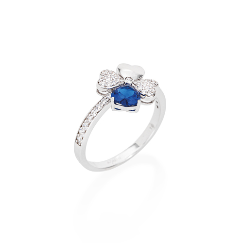 Ring Quadricuore Rhodium and Zircons White and Blue