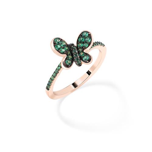 Ring Rosè Butterfly Green Zircons