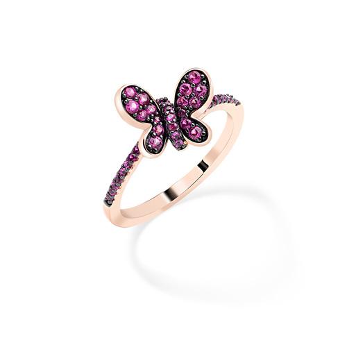 Ring Rosè Butterfly Ruby Zircons