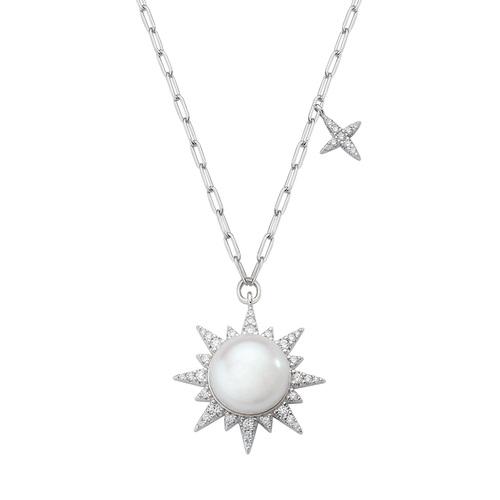 River Pearl Sun Necklace