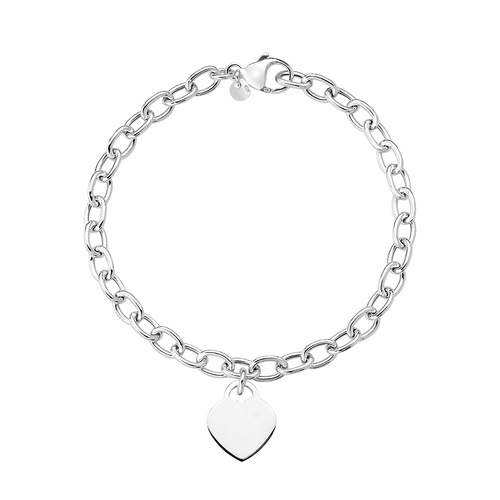 Rolò Chain Bracelet and Rhodium Heart
