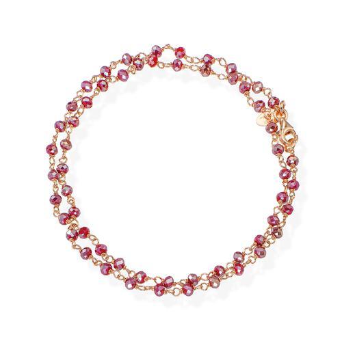 Rosè and Amaranth Crystal two-turn Bracelet