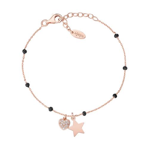 Rosè and Black Enamel Star and Heart Bracelet