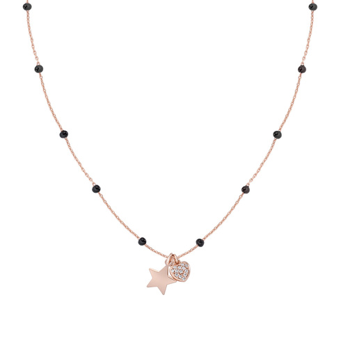 Rosè and Black Enamel Star and Heart Necklace